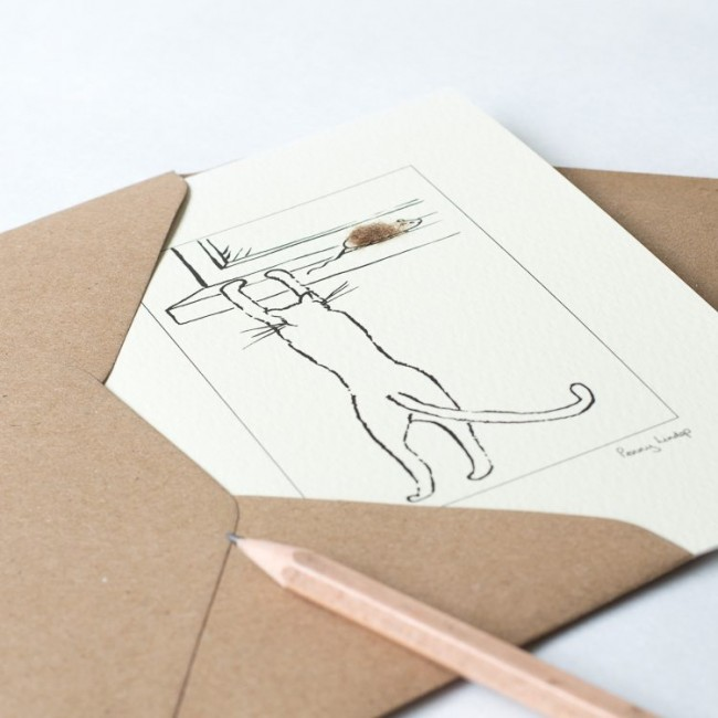 Greeting card - cat chasing mouse