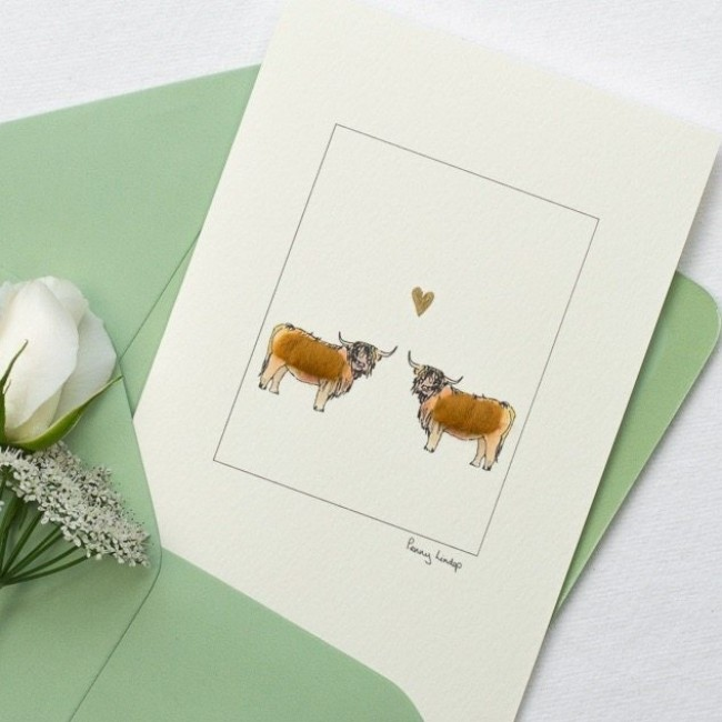 Cow Card - Highland Cows & Heart