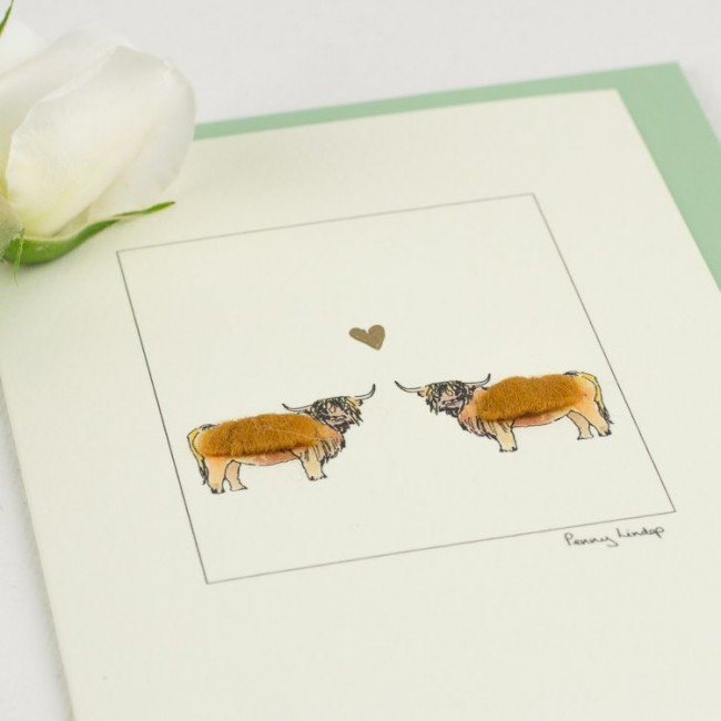 Highland Cows & Heart Card
