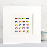 Flock of Woolly Sheep Picture, Bright Colours