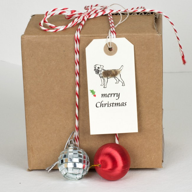 Christmas Gift Tags with border terriers, pack of 6