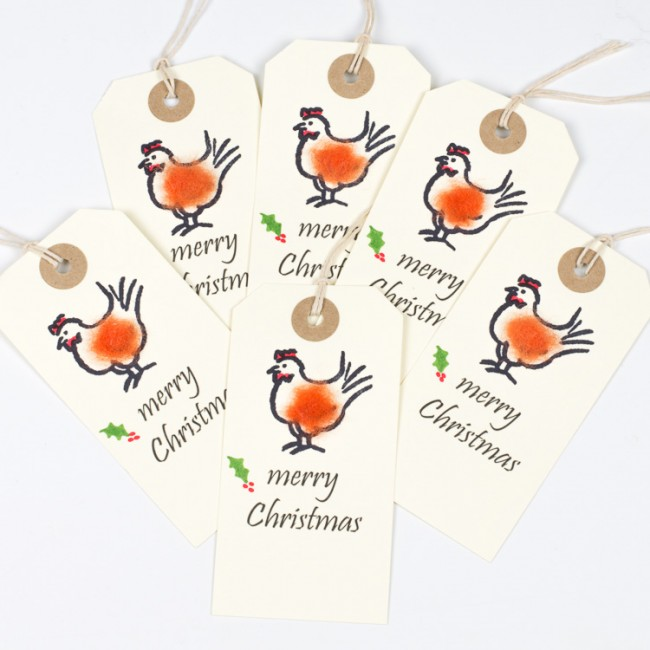 Christmas Gift Tags, fluffy chickens, pack of 6