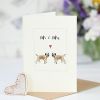 Border terrier dog card for a couple, fluffy borders for Mr & Mrs