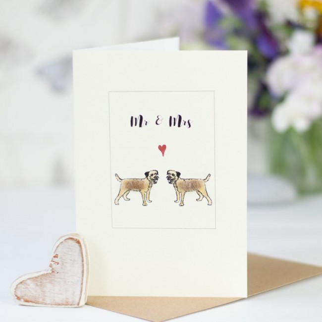 Border terrier Mr & Mrs Card
