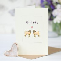 Pug dog card for a couple, fluffy pugs for Mr & Mrs