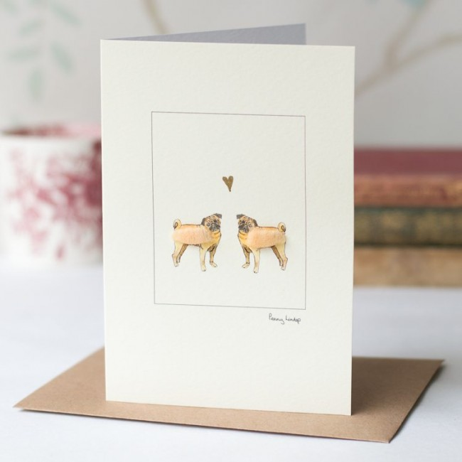 Pugs in Love Dog Card