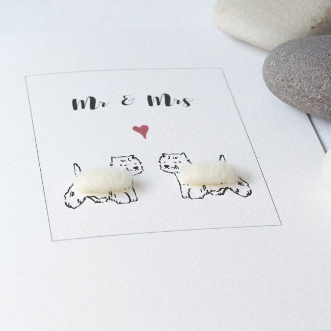 Westie dog card for a couple, fluffy Westies for Mr & Mrs