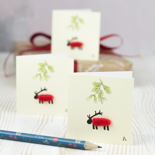 Christmas Gift Tags, woolly sheep/deer, pack of 4