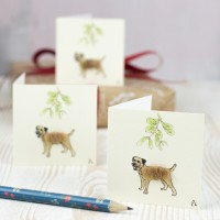 Christmas Gift Tags, fluffy Border terriers, pack of 4