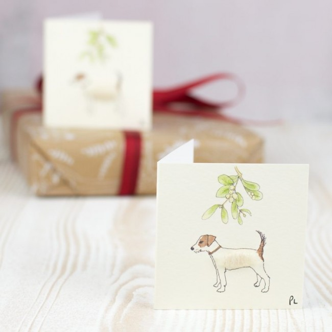 Christmas Gift Tags, fluffy Jack Russells, pack of 4