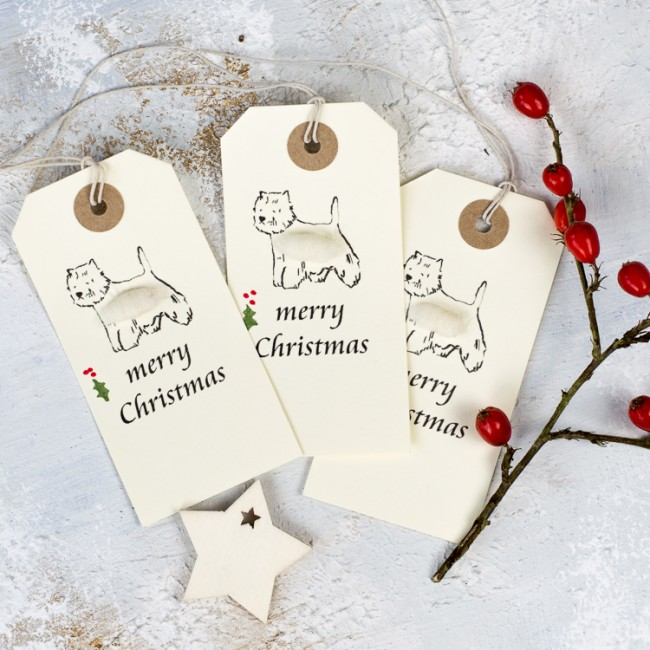 Christmas Gift Tags, fluffy westies, pack of 6