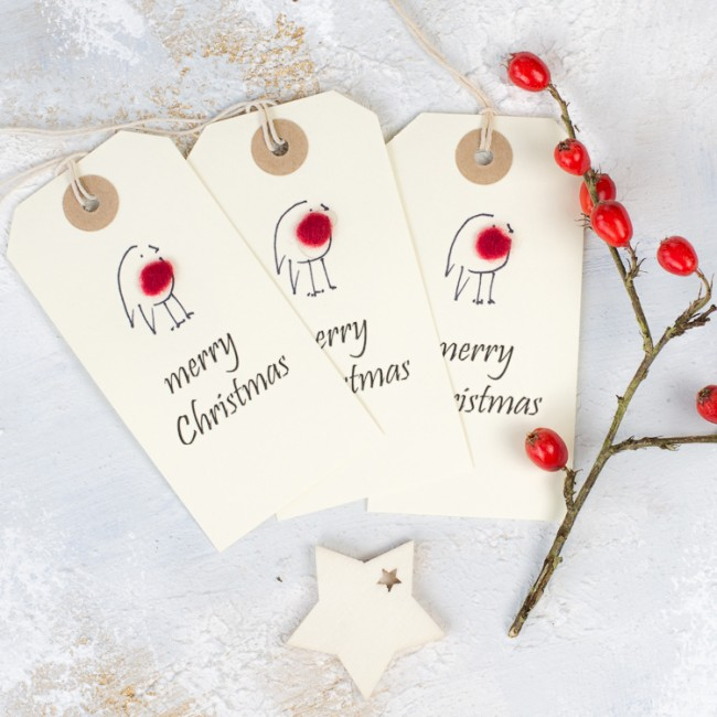 Christmas Gift Tags, fluffy robin, pack of 6