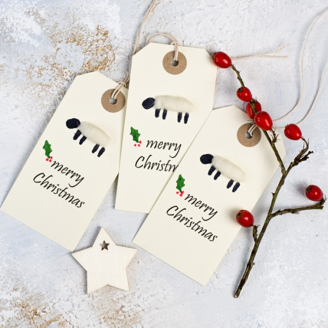 Christmas Gift Tags, woolly sheep, pack of 6