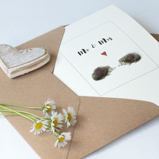 Hedgehog card for a couple, fluffy hedgehogs for Mr & Mrs