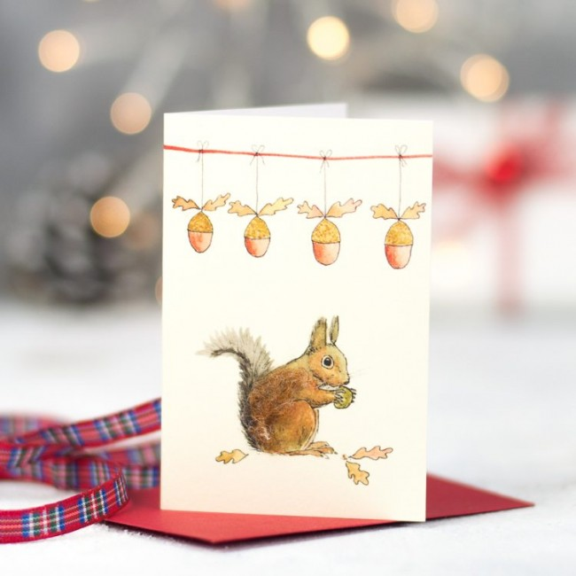 Squirrel Christmas Gift Cards - Pack of 4