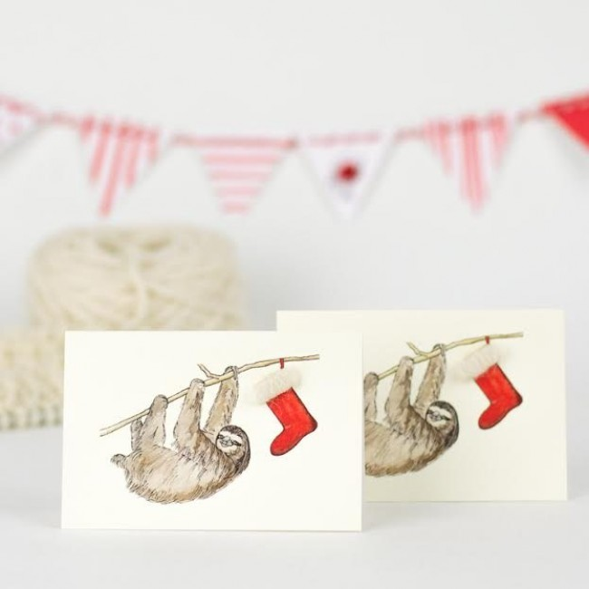 Sloth Christmas Gift Cards - Pack of 4
