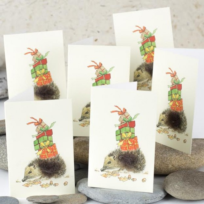 Hedgehog Christmas Gift Cards - Pack of 4