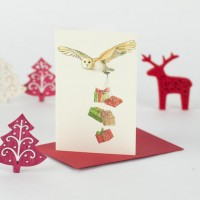 Owl Christmas Gift Cards - Pack of 4