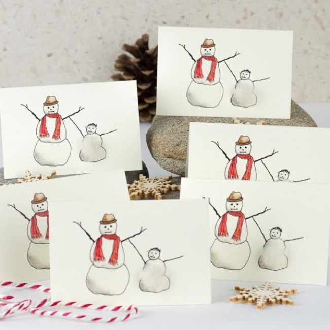 Snowmen Christmas Gift Cards - Pack of 4