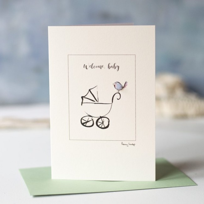 New baby card with fluffy bird and pram