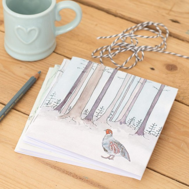Winter Woodland Animal Notebook - Partridge