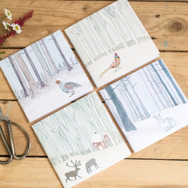 4 Winter Woodland Animal Notebooks - Set 1