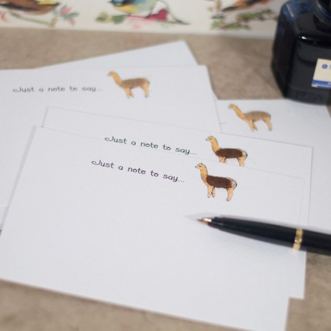 Set of 10 Notecards - Alpacas