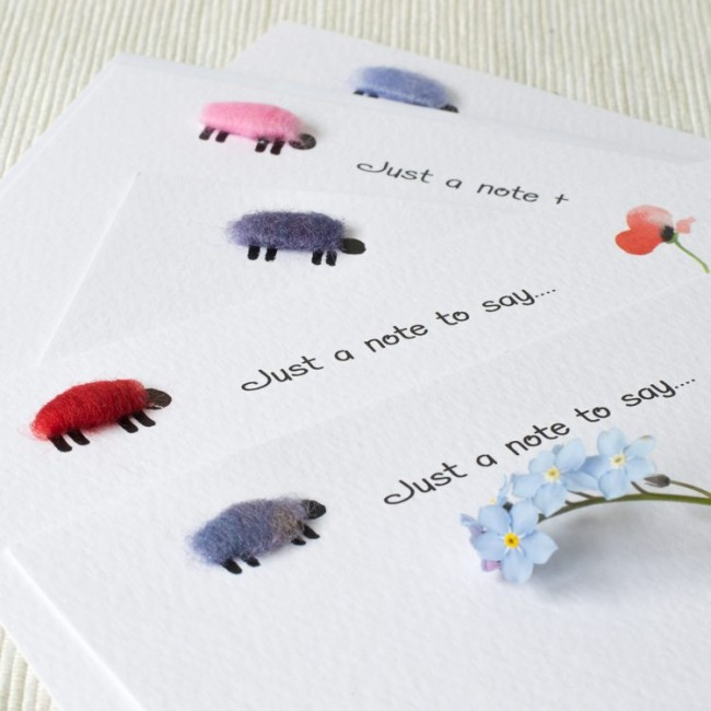 Set of 10 Notecards - Colourful Sheep and Flowers