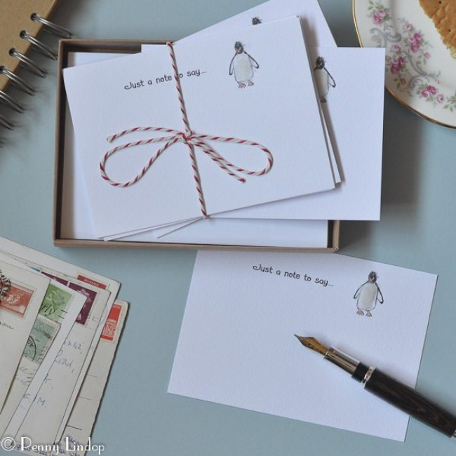 Set of 10 Notecards - Penguins