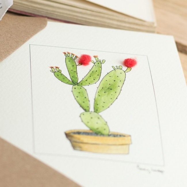 Orange cactus greeting card