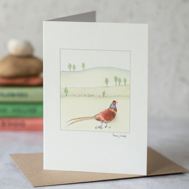 Pheasant Card - in a landscape