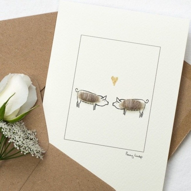 Pig Card - Pigs in Love