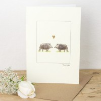 Pig Card with Boars in Love