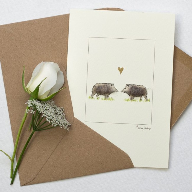 Pig Card - Boars in Love