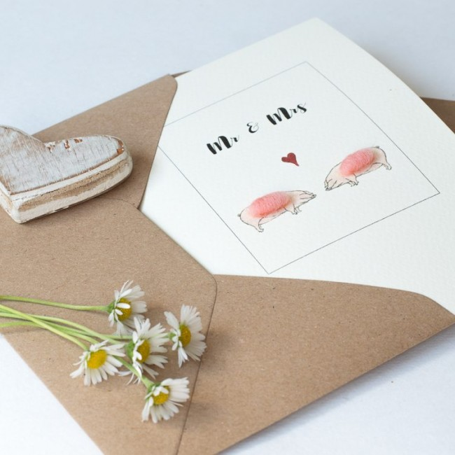 Pig Card - for Mr & Mrs