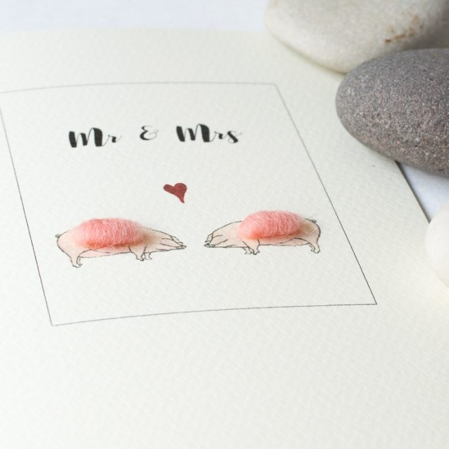 Pig card for a couple, fluffy pigs for Mr & Mrs