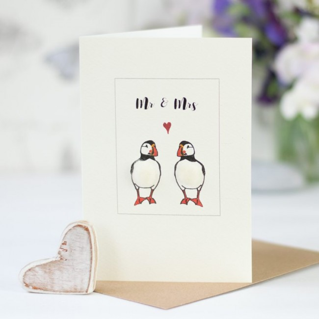 Puffin card for a couple, fluffy puffins for Mr & Mrs