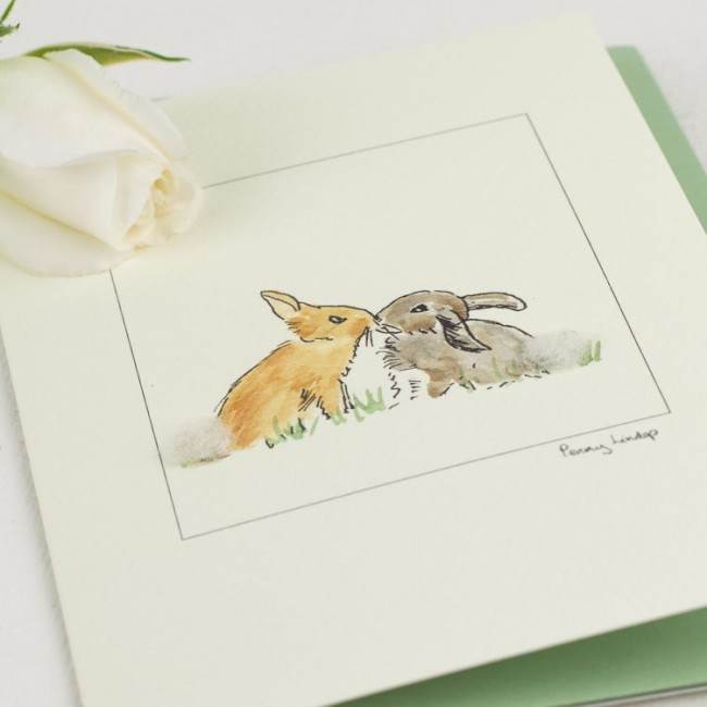 Rabbit Card - 2 Rabbits Kissing
