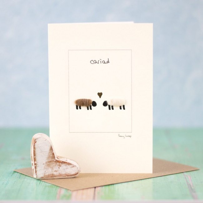 Welsh love card with sheep in love
