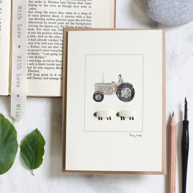 Sheep with Grey Tractor card