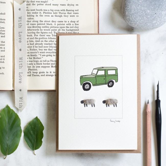 Landrover & Sheep Card