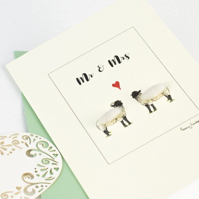 Sheep card for a couple, woolly sheep for Mr & Mrs