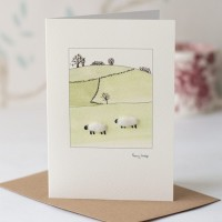 Woolly Sheep on Hillside Card