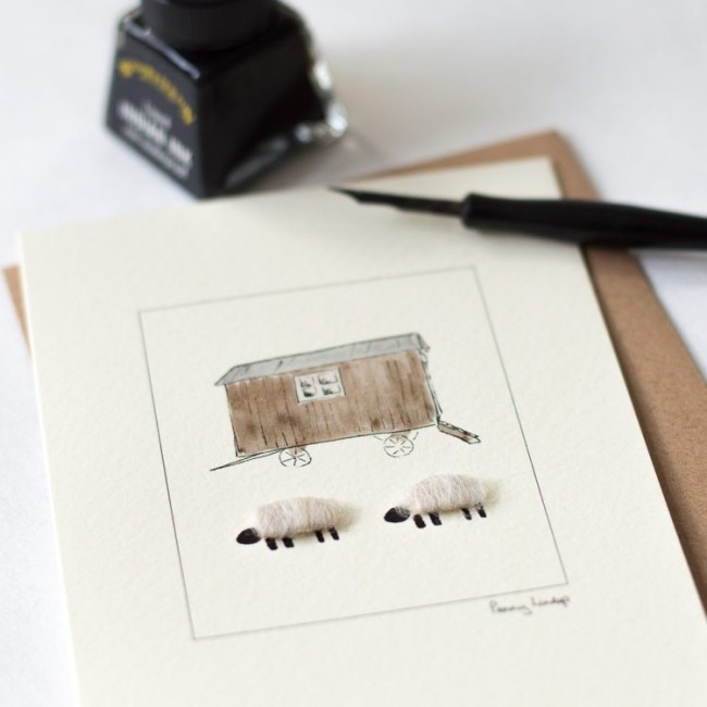 Woolly Sheep and Shepherd's Hut Card