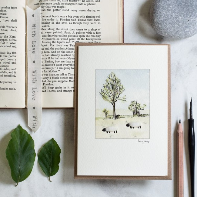 Sheep & Willow Tree Card