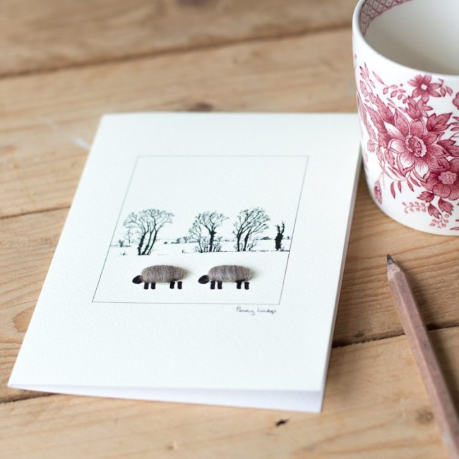 Woolly Sheep card -  winter trees