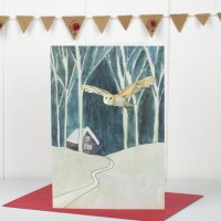 Scandi Winter Woodland Owl Christmas Card