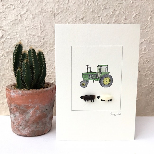 Sheep Card - John Deere Tractor