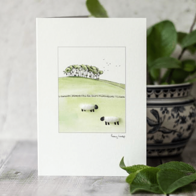 White Sheep & Trees Watercolour Card