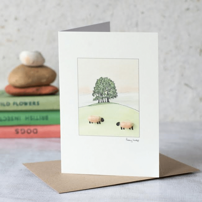Apricot Sheep Watercolour Card